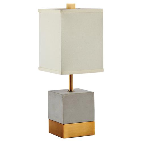 French Country Blue Lamps: Elsa French Country Grey Cement & Brass Cube Table Lamp