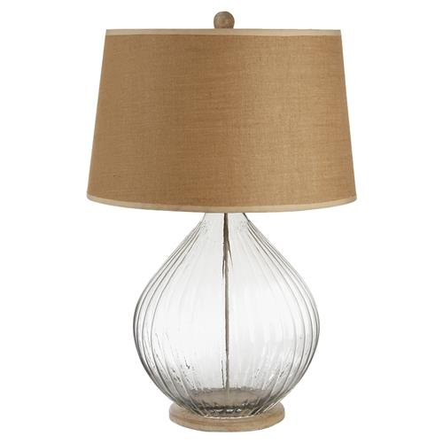 French Country Blue Lamps: Ember French Country Ribbed Glass Table Lamp With A Burlap