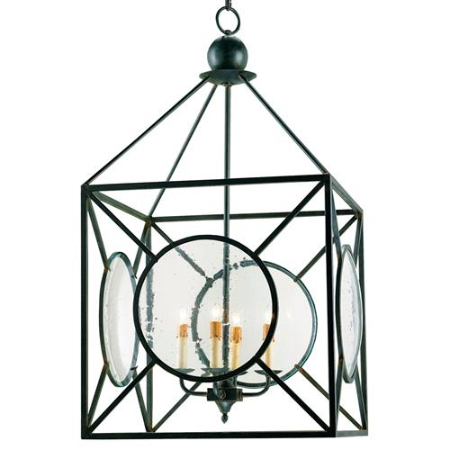 Beckmore Geometric Iron Seeded Glass 4 Light Lantern Pendant | Kathy Kuo Home