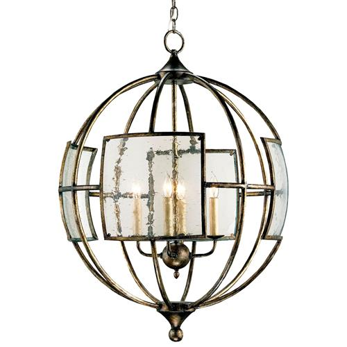 Broxton Seeded Glass 4 Light Orb Pendant Lantern | Kathy Kuo Home