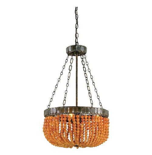 Brigg Orange Beaded Modern Basket Style 4 Light Chandelier | Kathy Kuo Home