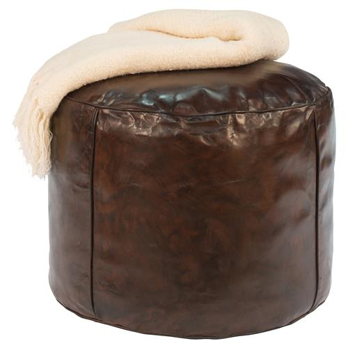 Cherry Modern Contemporary Round Brown Leather Stool Ottoman | Kathy Kuo Home