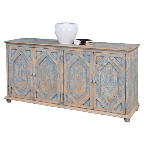 Janvier French Country Rustic Blue And White Wood Buffet