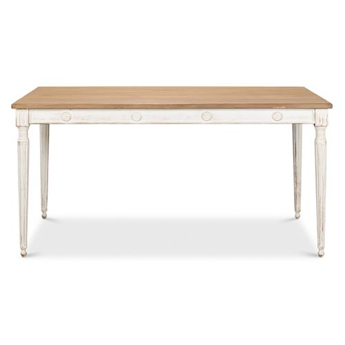 Jet French Country Rustic White Pine Wood Rectangular Dining Table