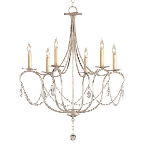 Crystal Lights Droplet Swag Petite 6 Light Chandelier | Kathy Kuo Home