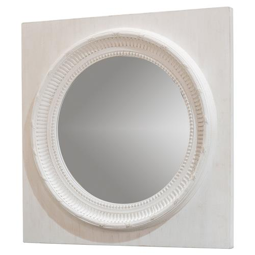Mars Modern Classic Square White Wood Frame Round Wall Mirror | Kathy Kuo Home