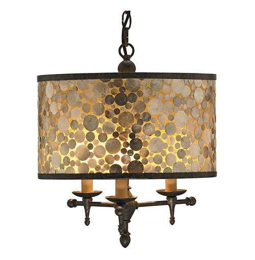 Ellesmere Modern Capiz Shell Inlay Drum Shade 3 Light Pendant | Kathy Kuo Home