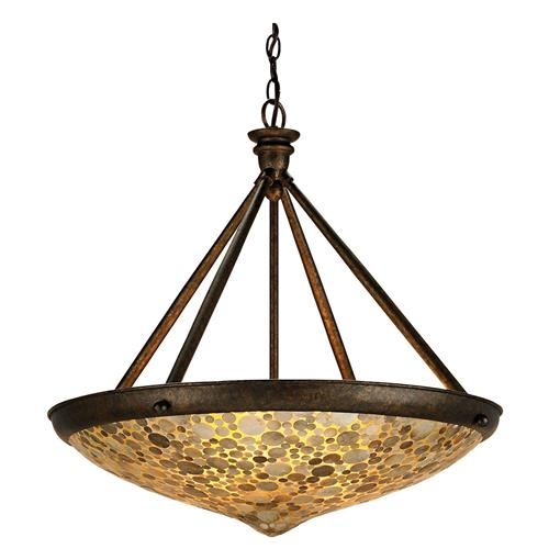Ellemere Modern Capiz Shell Inlay Saucer 3 Light Wrought Iron Pendant | Kathy Kuo Home