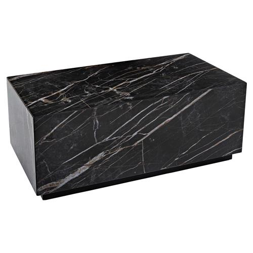 Saint Modern Classic Rectangular Black Marble Ceramic Block Coffee Table | Kathy Kuo Home