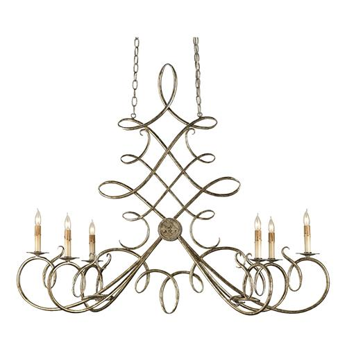 Old World Calligraphy Loop Oval 6 Light Chandelier | Kathy Kuo Home