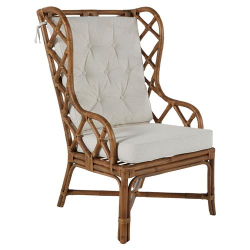 Watson Coastal Large Rattan Wing Back Dining Occasional Accent Armchair | Kathy Kuo Home