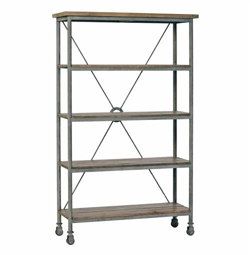 Isabelle Industrial Loft Caster Feet Reclaimed Wood Rolling Bookcase | Kathy Kuo Home