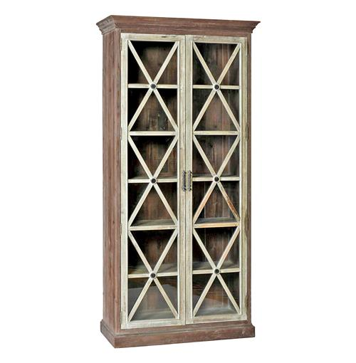 Hannah Trellis Patter Contrast Vintage Wood Curio Cabinet | Kathy Kuo Home