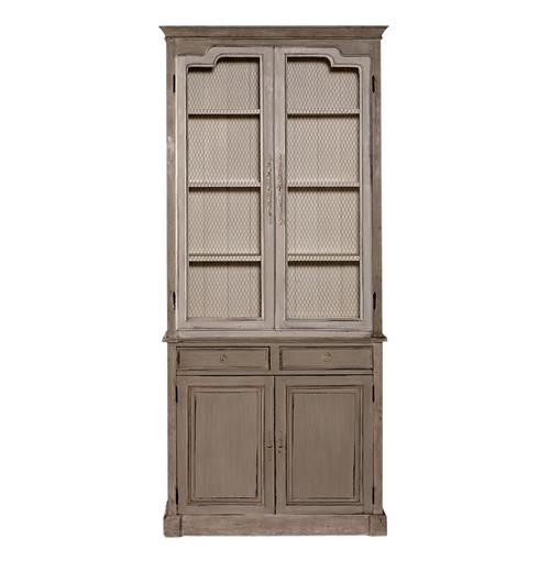 Gerard French Gray White Solid Mahogany Tall Cabinet | Kathy Kuo Home