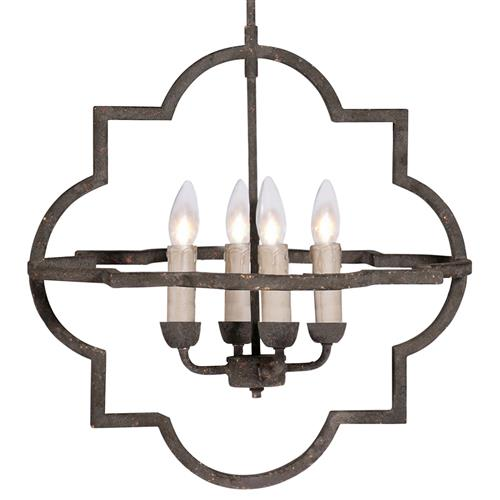 Athena French Country Quatrefoil Dark Rusted Iron Chandelier | Kathy Kuo Home