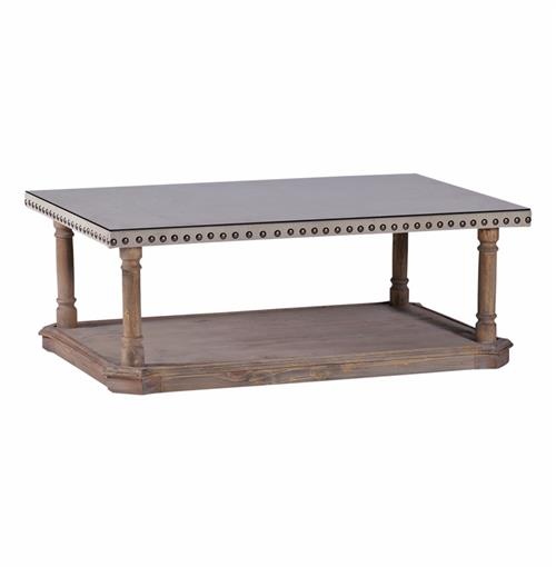 Roland French Country Linen Nail Head Rustic Coffee Table Kathy Kuo Home