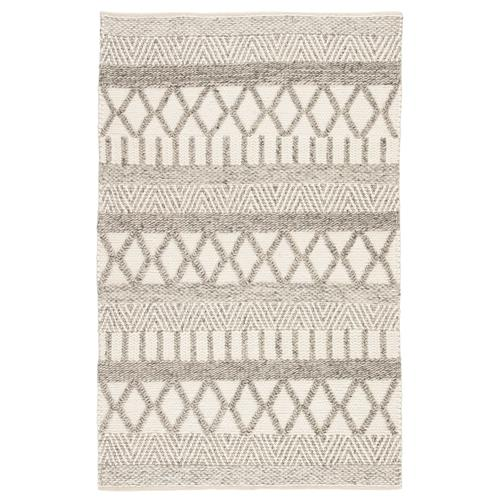 Louis Modern Ivory Grey Wool Stripe Patterned Rug - 2'x3' | Kathy Kuo Home