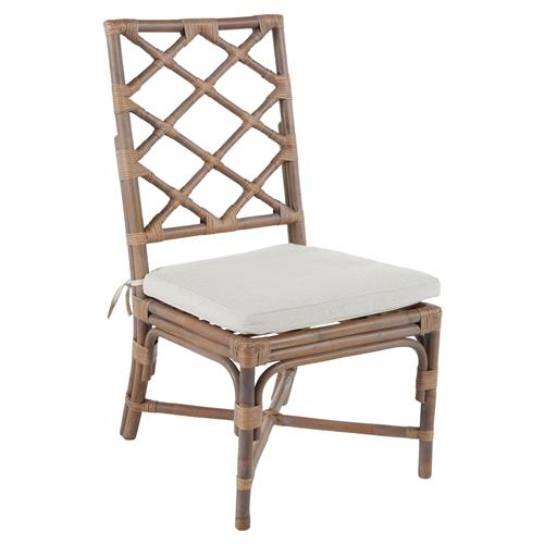 Kennedy Lattice Back Regency Style Linen Rattan Dining Chair | Kathy Kuo Home