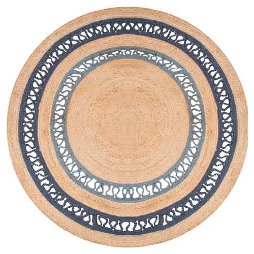 Felix Modern Round Blue Brown Natural Jute Solid Rug - 6' x 6' | Kathy Kuo Home