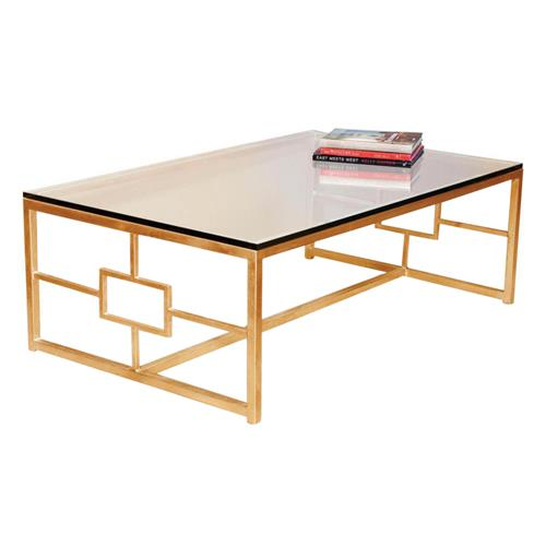 Somrig Contemporary Antique Gold Leaf Boutique Coffee Table | Kathy Kuo Home