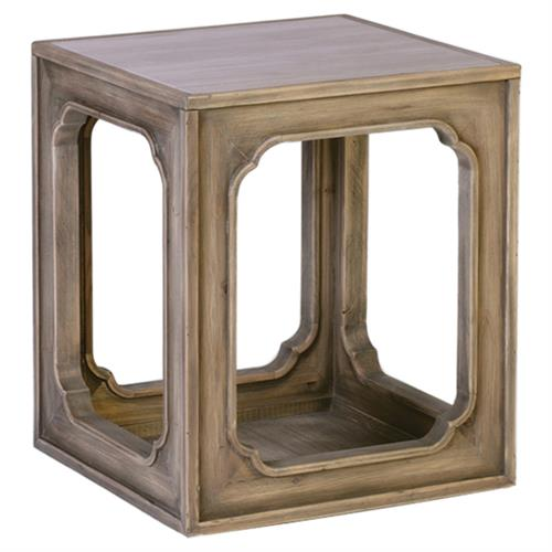 Curtis Rustic Lodge Recycled Pine Hollow End Table | Kathy Kuo Home