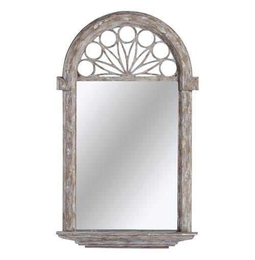 Violet Heavy Distress Cathedral French Country Hall Foyer Mirror | Kathy Kuo Home