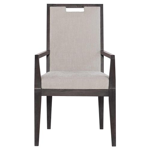 Dean Modern Masculine Grey Upholstered Brown Oak Dining Arm Chair | Kathy Kuo Home