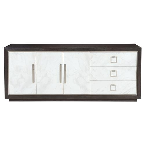 Dean Modern Masculine Dark Oak Three Door White Buffet Sideboard | Kathy Kuo Home