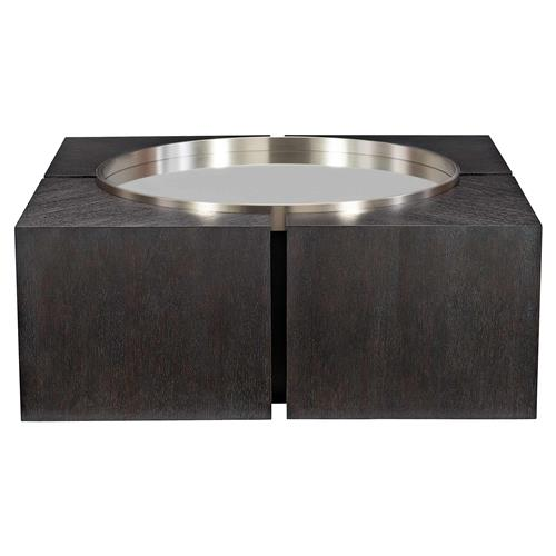 Dean Modern Masculine Dark Oak Mirror Top Square Coffee Table | Kathy Kuo Home