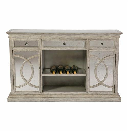 Genevieve Shabby Chic Regency Antique Mirror Sideboard Buffet | Kathy Kuo Home