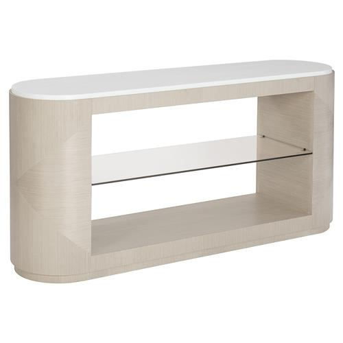Lucille Modern Classic White Top Grey Wood Glass Shelf Console Table | Kathy Kuo Home