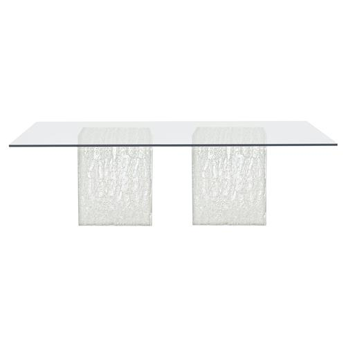Uma Modern Classic Rectangular Glass Top Silver Acrylic Dining Table | Kathy Kuo Home