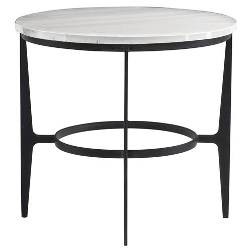 White Marble And Metal Round Accent Table: Cleo Modern Classic Round White Faux Marble Top Black