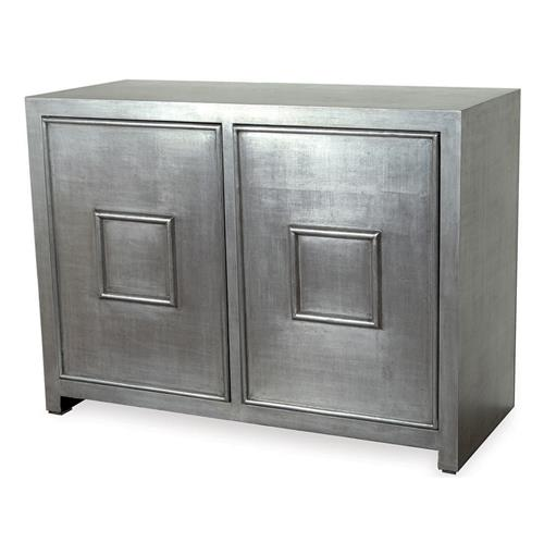 Park Avenue Hollywood Regency Style Silver Leaf Cabinet | Kathy Kuo Home