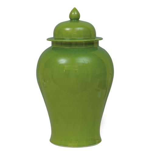 Green Apple Modern Asian Temple Lidded Ginger Jar | Kathy Kuo Home