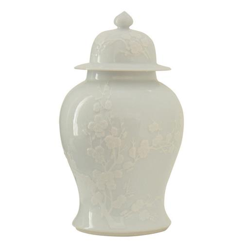 Blanc de Chine White Porcelain Cherry Blossom Ginger Temple Jar | Kathy Kuo Home
