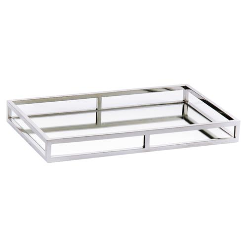 Kaiden Industrial Loft Silver Metal, Silver Mirror Tray Rectangle