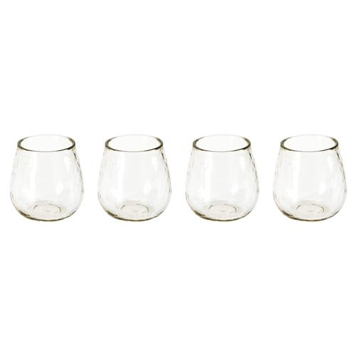 Olly Modern Classic Artisan Clear Hammered Stemless Wine Glasses - Set of 4 | Kathy Kuo Home