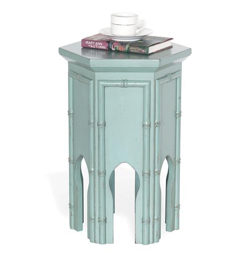 "Algiers Moroccan Contemporary Tea Accent Table Turquoise Blue 23""H 