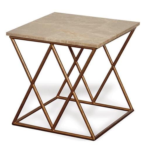 Contemporary French Gold Crossing Accent Side Table | Kathy Kuo Home