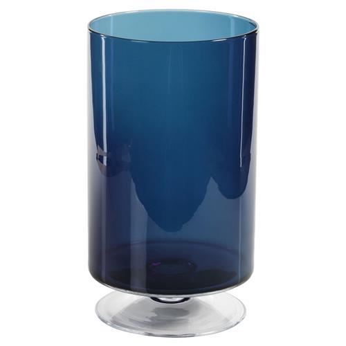 "Farrah Modern Classic Deep Blue Glass Decorative Footed Hurricane, 13.5"" - Large 