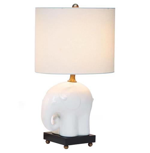 Bambino Baby Elephant Porcelain Wood Children's Room Lamp- 25 Inch | Kathy Kuo Home