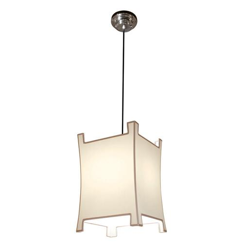 Modern Asian Beige Black Trim Pagoda Pendant Lamp | Kathy Kuo Home