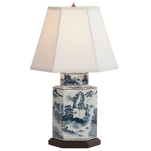 Canton Blue White Contemporary Handpainted Table Lamp - 23H | Kathy Kuo Home
