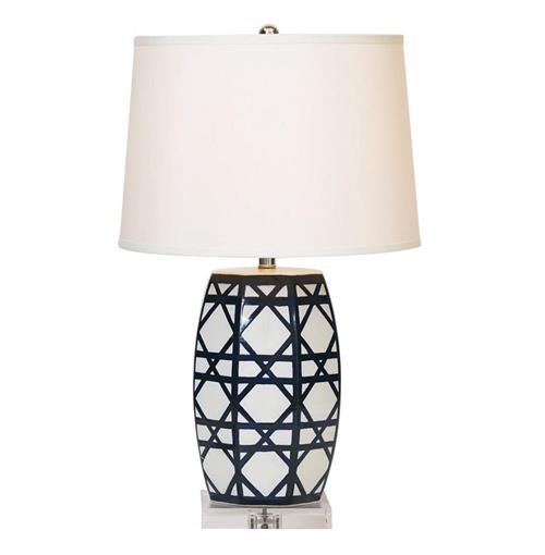 Contemporary Blue White Lattice Porcelain Gazebo Lamp | Kathy Kuo Home