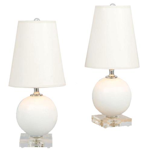 Pair Katie Coastal Style Mini Ball Lamp - Ivory Crackled Porcelain | Kathy Kuo Home