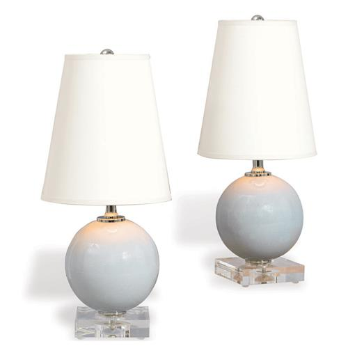 Pair Katie Coastal Style Mini Ball Lamp - Light Grey Porcelain | Kathy Kuo Home
