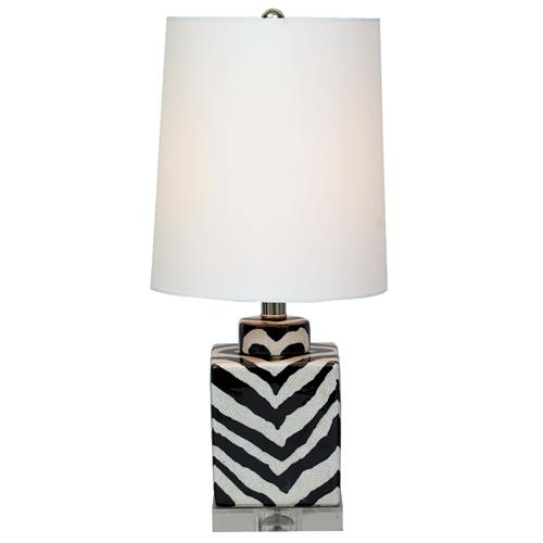 Kenya Modern Black and White Zebra Print Tea Jar Table Lamp- 21 Inch | Kathy Kuo Home