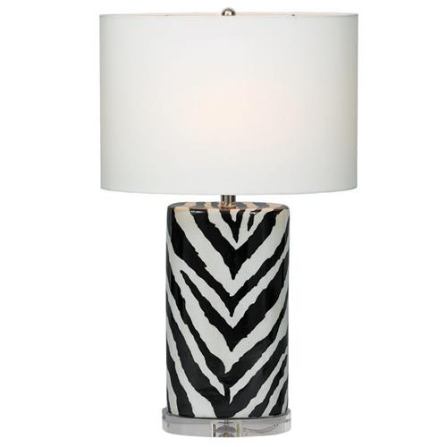 Kenya Modern Black and White Zebra Print Tea Jar Table Lamp- 28 Inch | Kathy Kuo Home