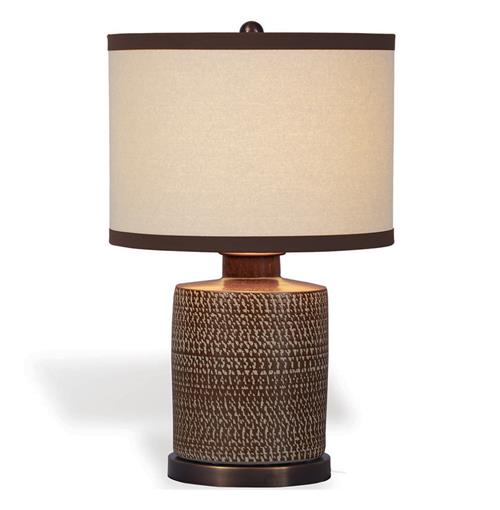 Mesa Southwestern Brown Chipped Texture Barrel Lamp | Kathy Kuo Home